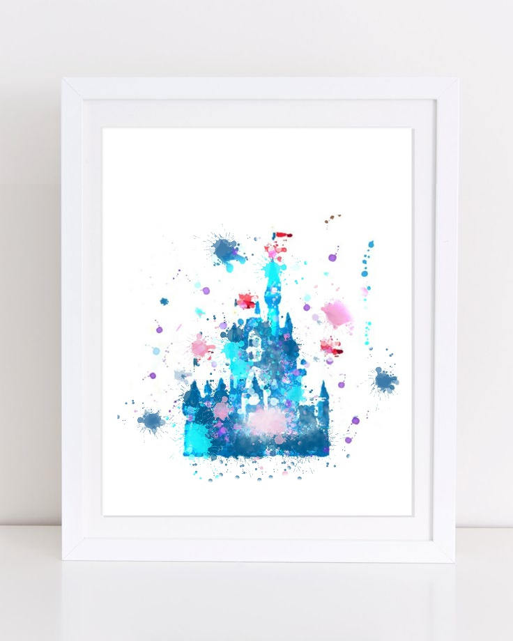 736x920 Watercolor Disney Castle Poster Princess Poster Princess Etsy