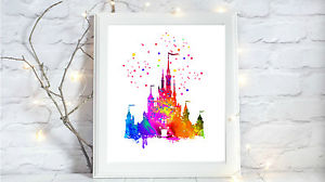 300x168 Disney Castle Watercolor A4 Glossy Print Nursery Picture Gift