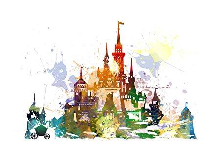 450x318 Disney Cinderella Castle Canvas Wall Art Picture Watercolour Style