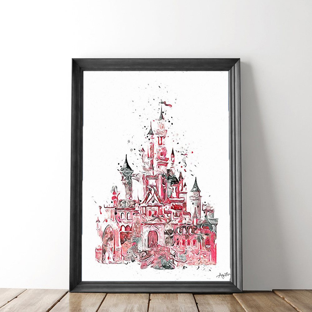 1000x1000 Canvas Painting Hd Print Disney Castle Watercolor For H