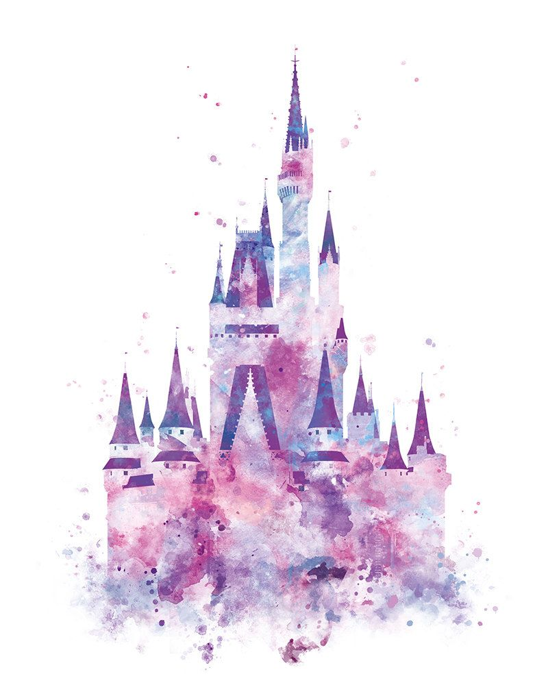 800x1000 Cinderella Castle Art Watercolor Print, Princess Castle, Disney