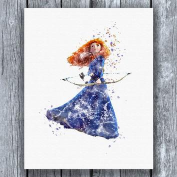 354x354 Brave Merida Disney Princess Watercolor From Allartprints
