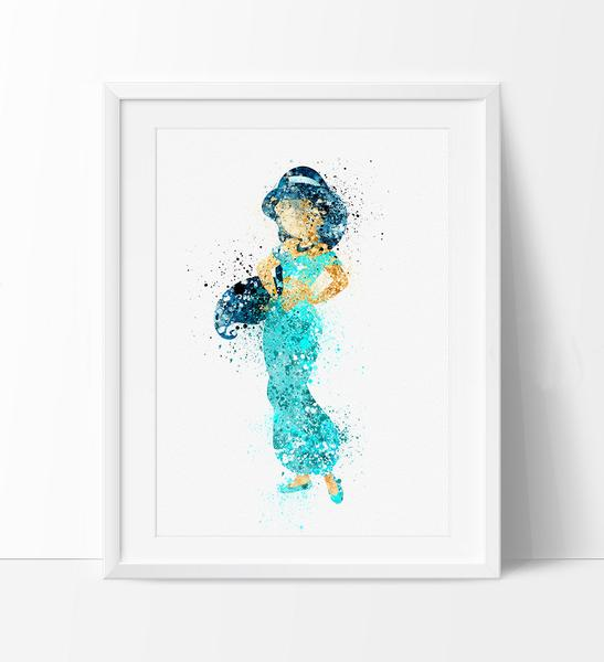 547x600 Disney Princess Jasmine, Watercolor Art, Nursery Art Print, Disney