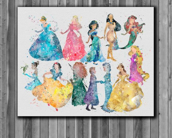 570x456 Disney Princesses Watercolor Disney Art By Digitalaquamarine