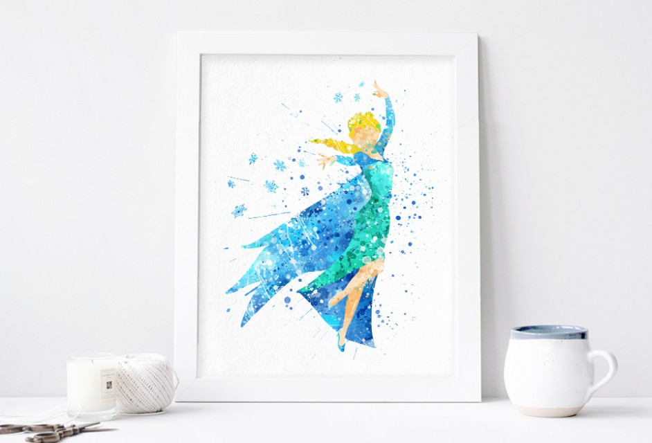 942x640 Elsa Print, Frozen Disney Watercolor Nursery Wall Decor, Disney