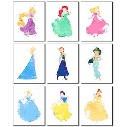 425x425 Disney Princess Watercolor Prints