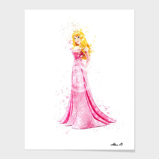 540x540 Sleeping Beauty Disney Princess Watercolor Art Print
