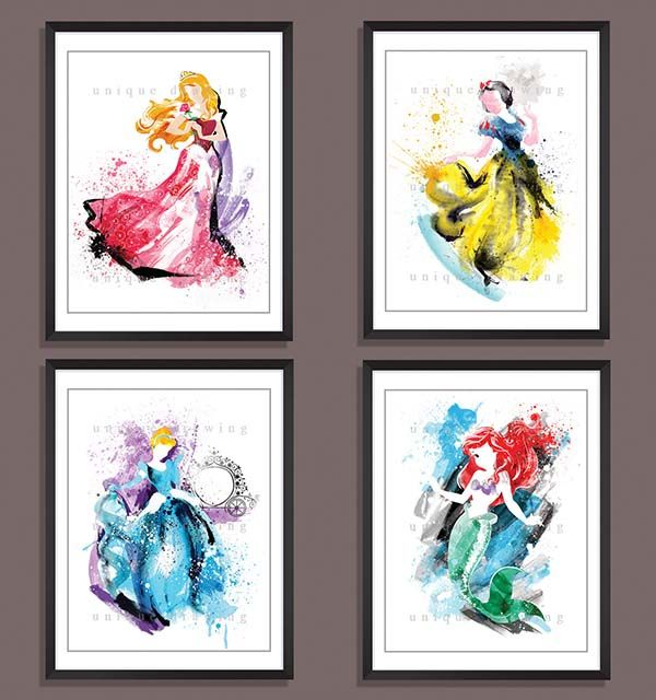 600x640 Watercolor Styled Disney Princess Poster Set