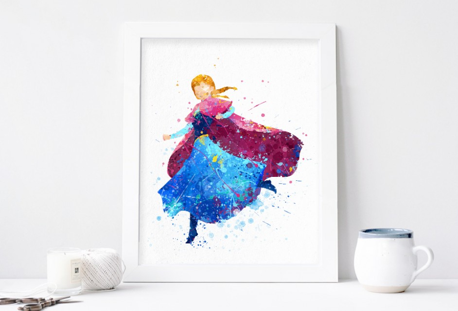 942x640 Anna Print, Frozen Disney Watercolor Nursery Wall Decor, Disney