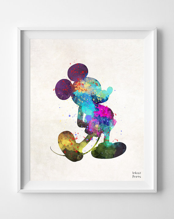 570x719 Mickey Mouse, Print, Disney, Watercolor, Poster, Art, Gift