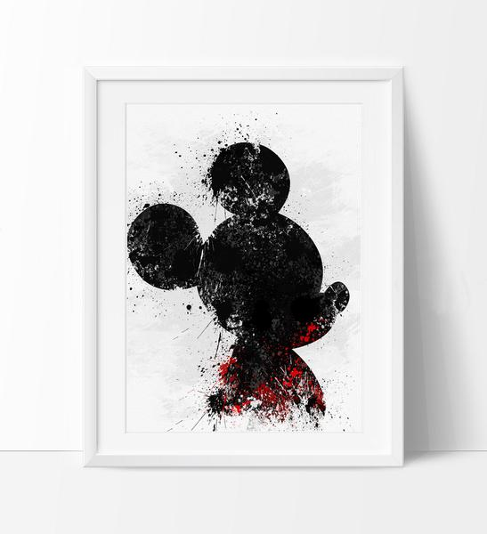 547x600 Mickey Watercolor Art Print, Disney Watercolor, Watercolor Mickey