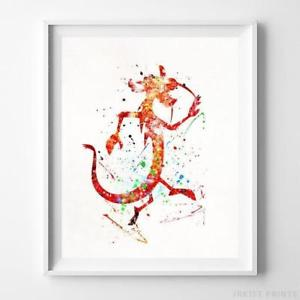 300x300 Mushu Mulan Wall Art Disney Watercolor Poster Nursery Room Decor