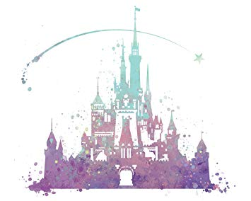 355x284 8x10 P02 Disney Castle Poster. Inspired Watercolor