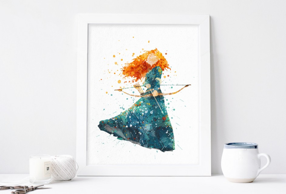 942x640 Princess Merida Watercolor Art Print Nursery Wall Decor