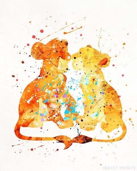 480x600 Simba Poster, Simba Print, Lion King Print, Disney Poster, Nala
