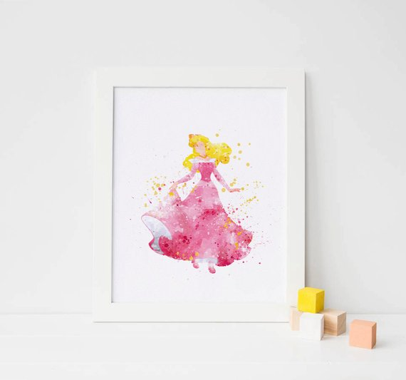 570x533 Sleeping Beauty Art Disney Watercolor Sleeping Beauty Print