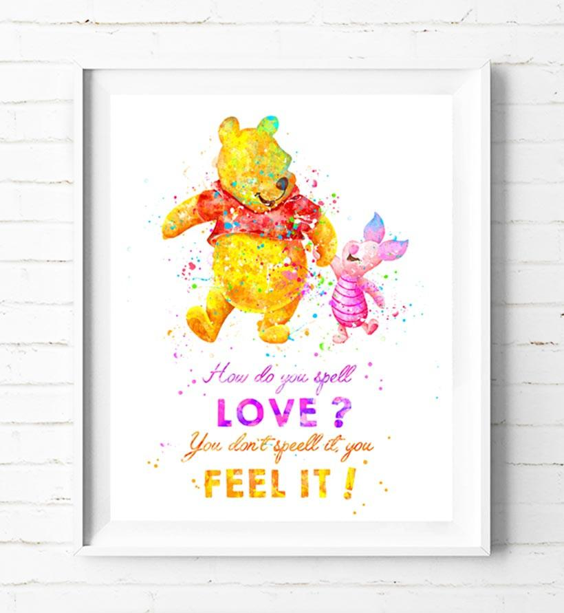 820x891 Winnie The Pooh Art Print Poster Disney Watercolor Painting Wall