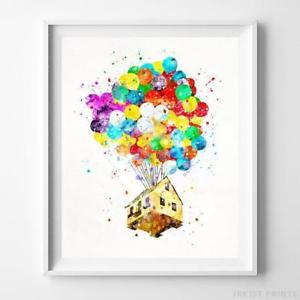 300x300 Balloon House Up Wall Art Disney Watercolor Poster Home Decor Baby