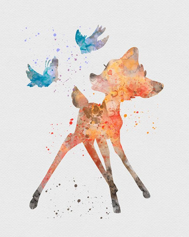 620x775 Bambi Watercolor Art Art Ii Watercolor Art