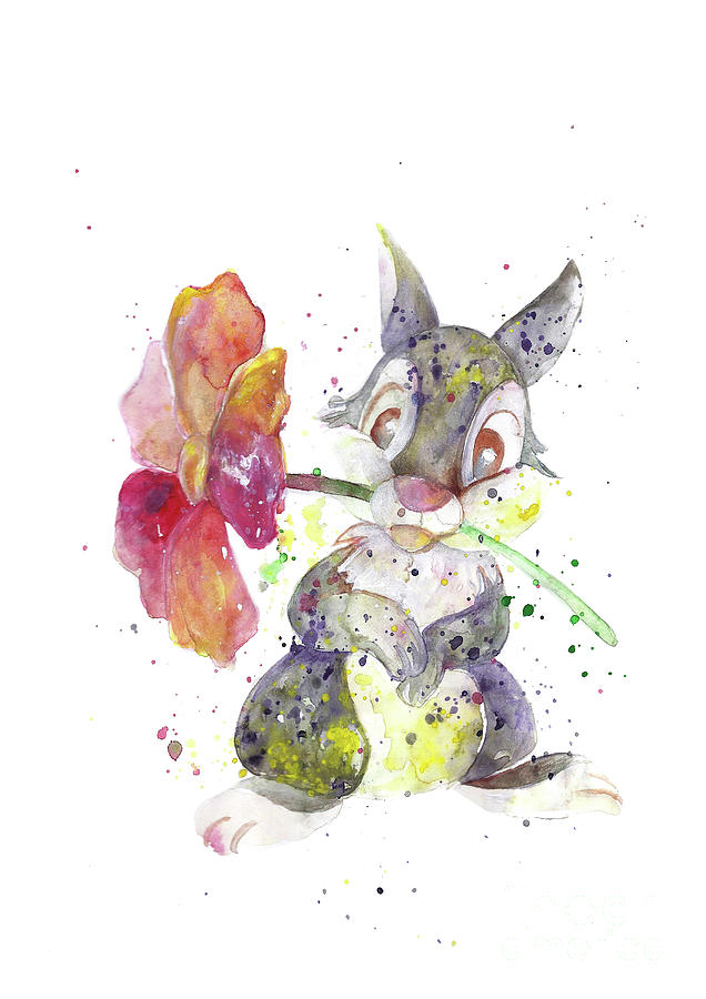 636x900 Bunny. Cartoon. Disney. Watercolor Art Print. Wall Art. Home Decor