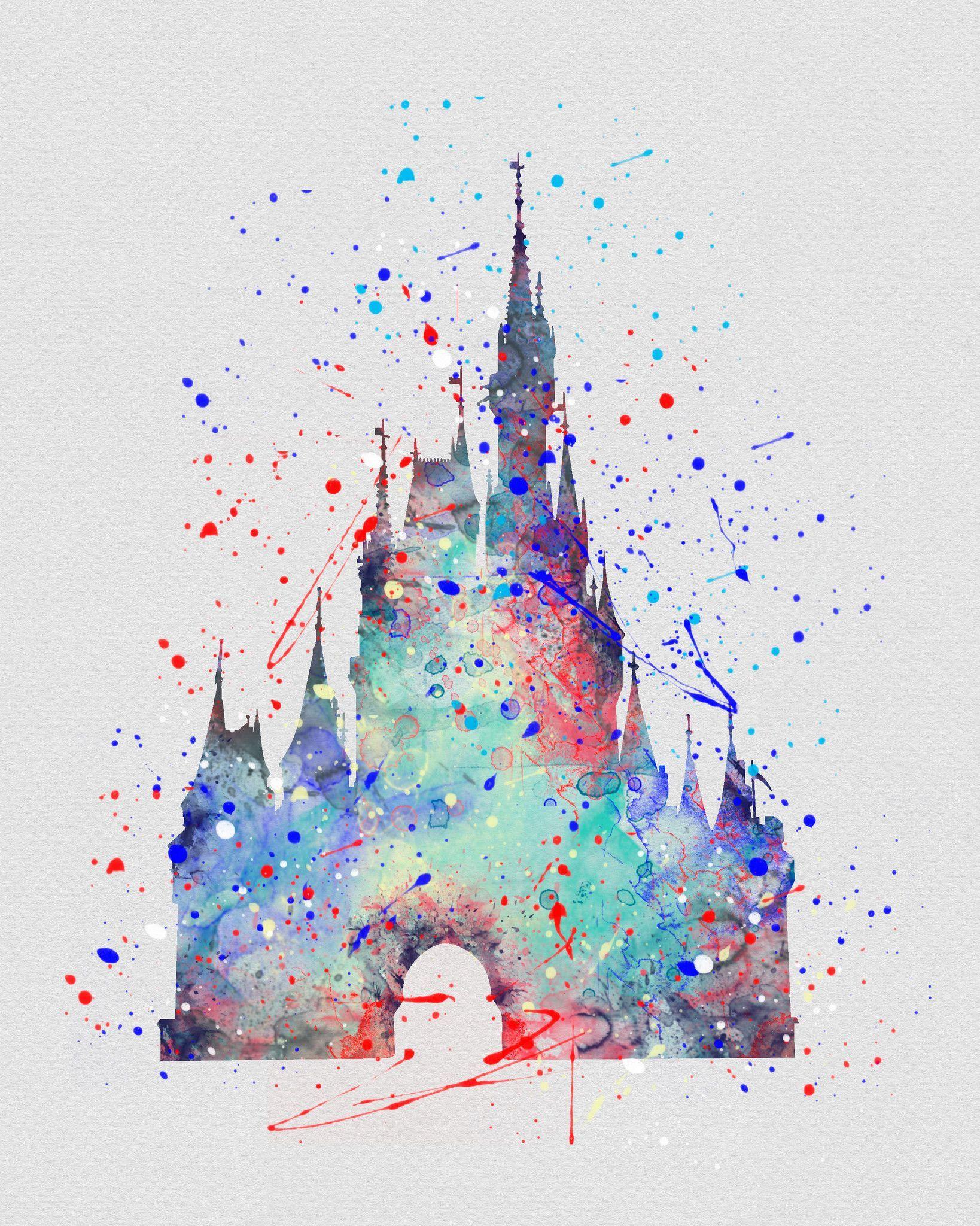 1638x2048 Cinderella Castle 5 Watercolor Art Print Disney Tattoos