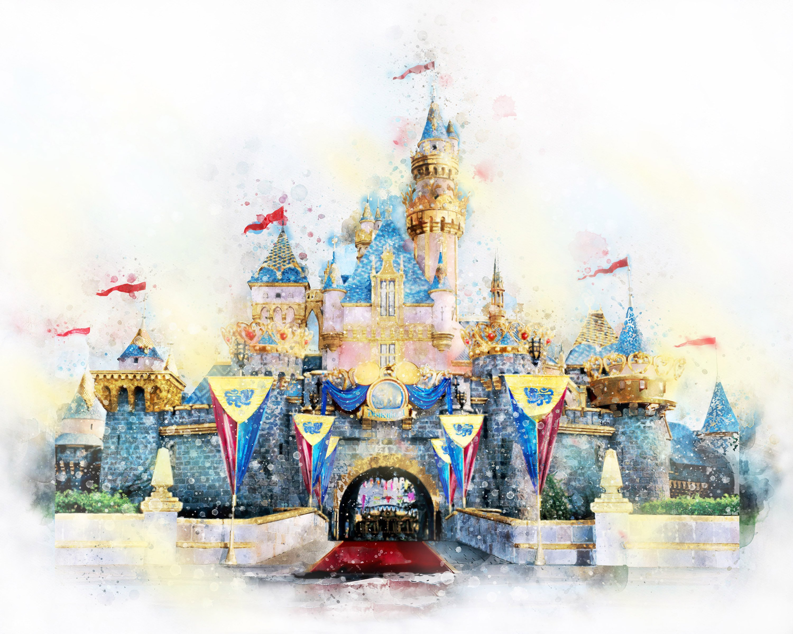 3000x2400 Disney Princess Castle Watercolor Printable Art Disney Etsy