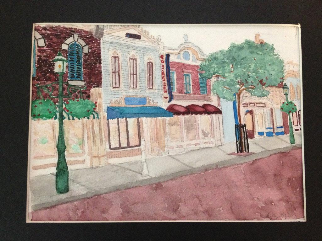 1024x768 Disneyland Main Street Watercolor By Amazingneighbor101