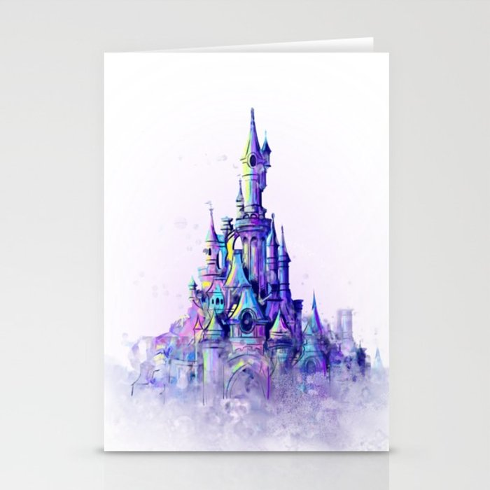700x700 Disneyland Paris Watercolour Castle Stationery Cards By Tachapope