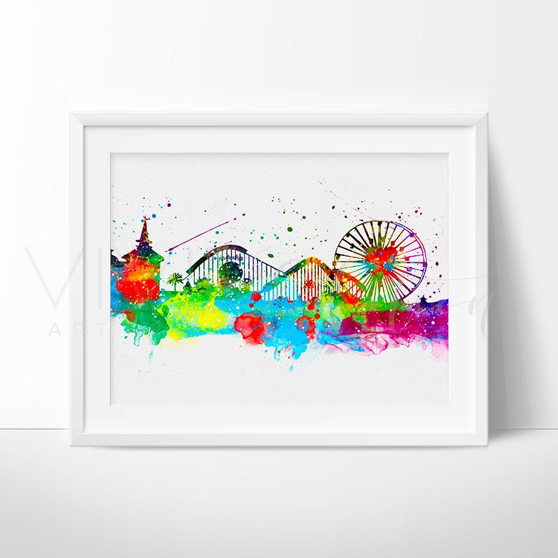 800x800 Disneyland Park California Skyline Watercolor Art Print Wall Decor
