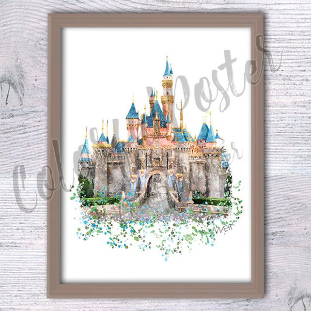 642x642 Disneyland Sleeping Beauty Magic Castle Watercolor Etsy