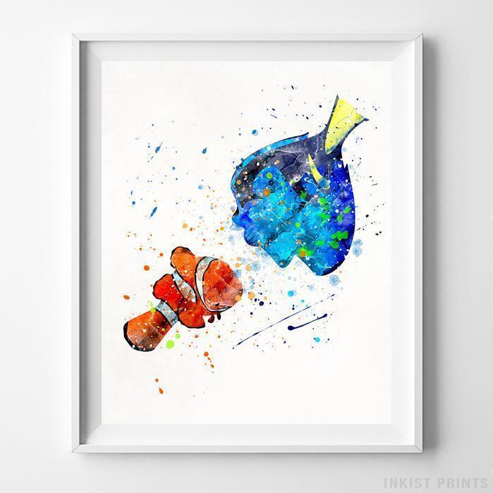 699x699 Marlin Dory Finding Nemo Wall Art Disney Watercolor Poster Nursery