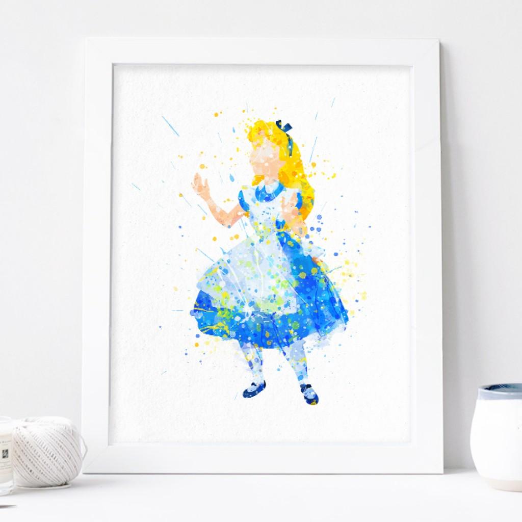1024x1024 Alice Print, Alice In Wonderland Watercolor Disney