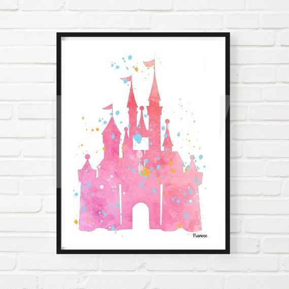 570x570 Watercolor Print Cinderella Disney Castle Pink Digital Download