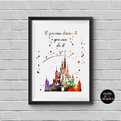 500x500 Disney Castle Watercolor Print Princess Fairytsle