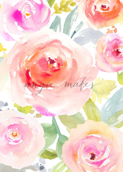429x600 Painted Flower Stationery. Cute Painted Flower Card Background