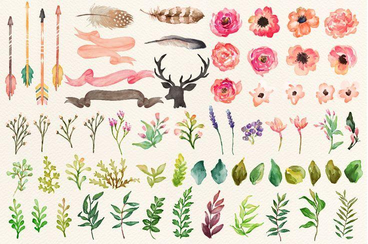 736x489 Watercolor Flower Diy Pack Vol.2cool! Art Flower