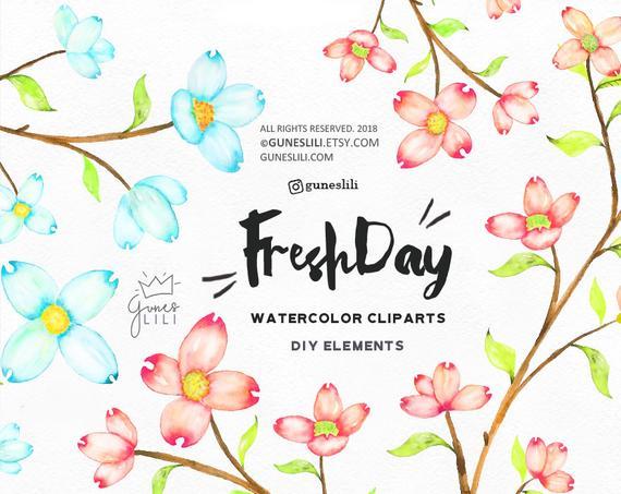 570x453 Flower Clip Art, Watercolor Flowers Clipart, Summer Flower Clipart