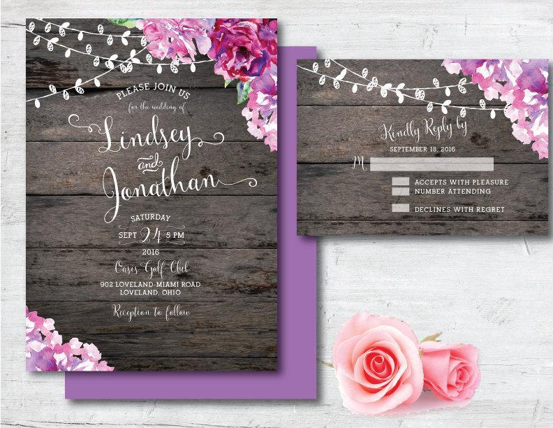 792x612 Printable Wedding Invitation, Purple Wedding Invitation, Purple