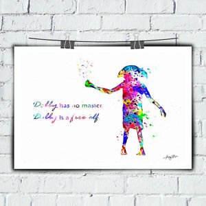300x300 Dobby Watercolor Hd Print On Canvas Bedroom Deco Harry Potter