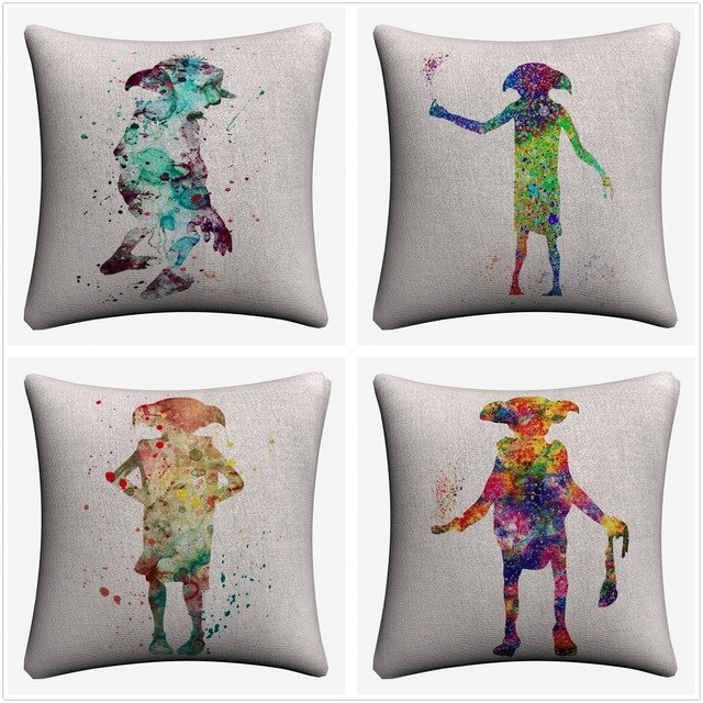 640x640 Dobby Watercolor Harry Potte Art Decorative Cotton Linen Cushion