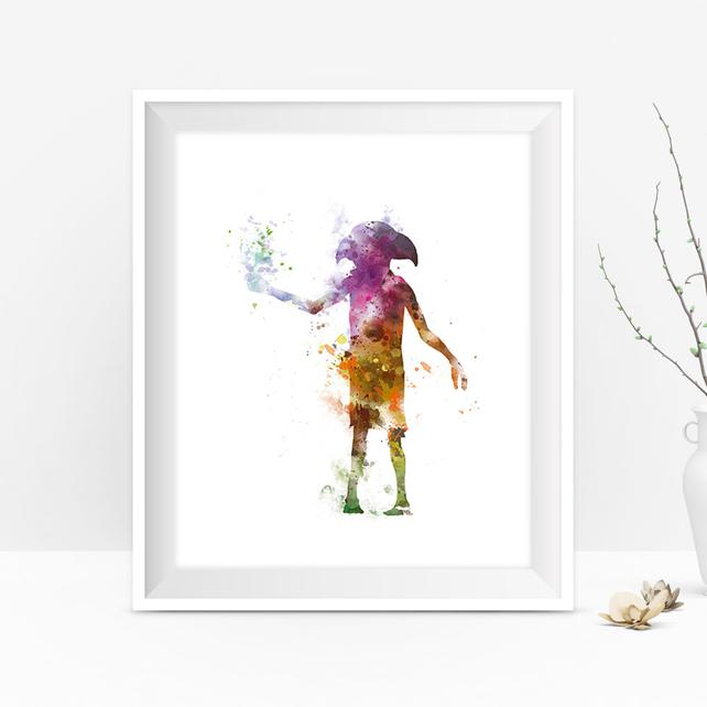 642x642 Dobby Watercolor Print Wall Art Harry Potter Harry Potter Etsy