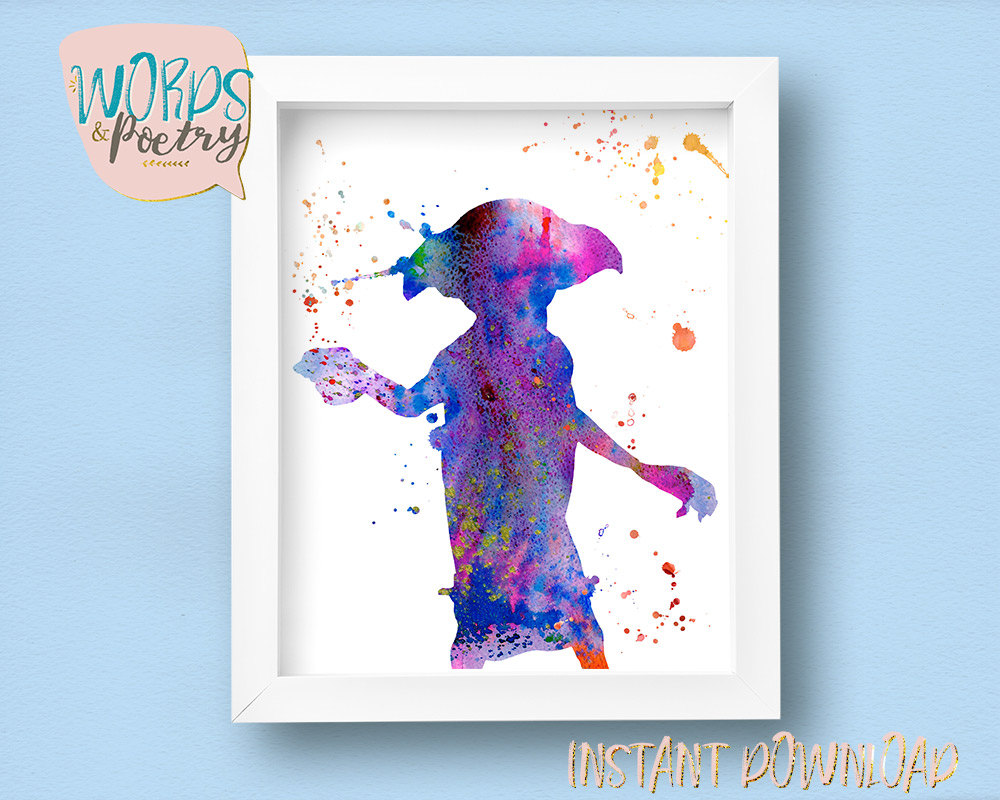 1000x800 Dobby Watercolor Illustration. Harry Potter Print Dobby Elf Etsy