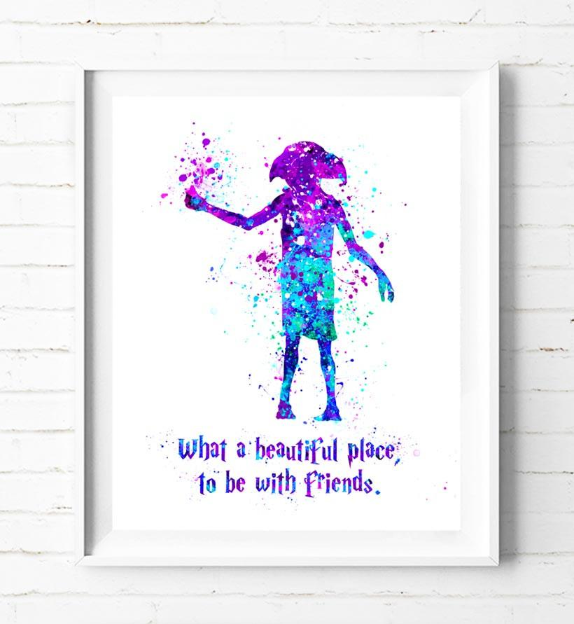820x891 Harry Potter Dobby Watercolor Painting Poster Prints Quotes Wall