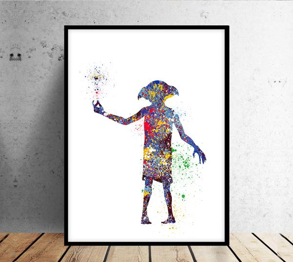 600x537 Harry Potter Print, Dobby Watercolor Art, Wizard Nursery Art Print