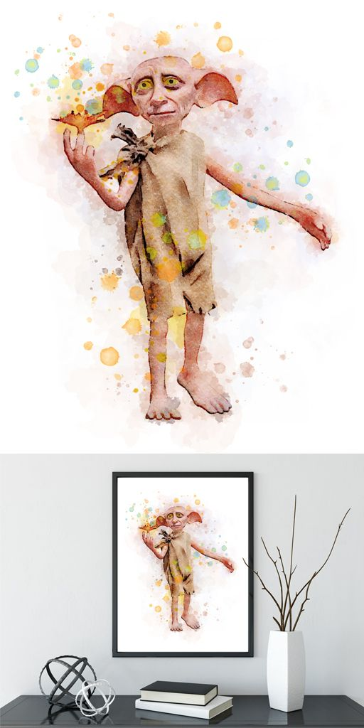 512x1024 Harry Potter Watercolor Print Dobby Watercolor Poster House Elf