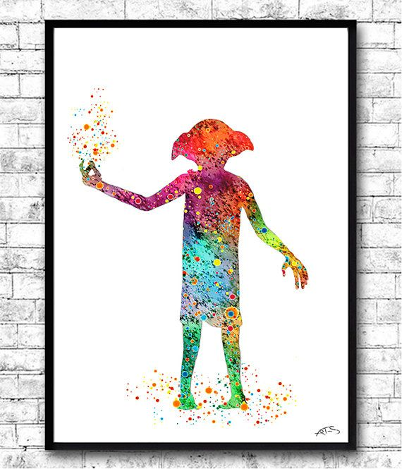 570x665 Dobby Buy 2, Get 1 Free! Watercolor Print,harry Potter,nursery