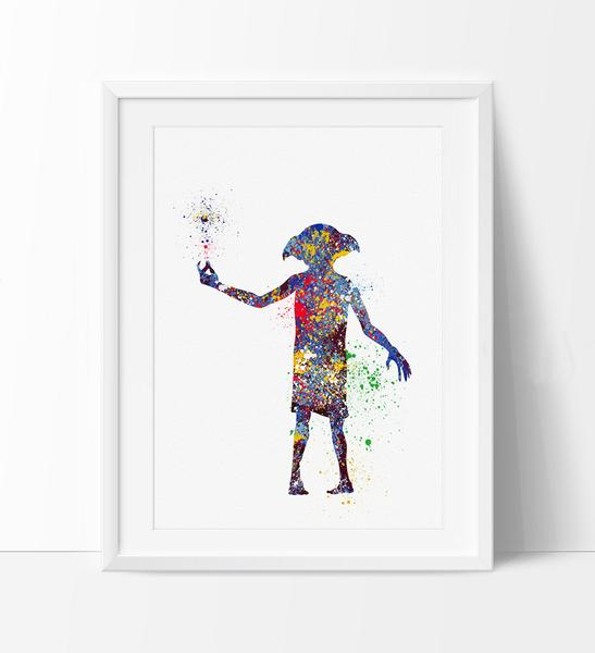 547x600 Dobby Harry Potter Art Print, Nursery Art Print, Dobby Watercolor