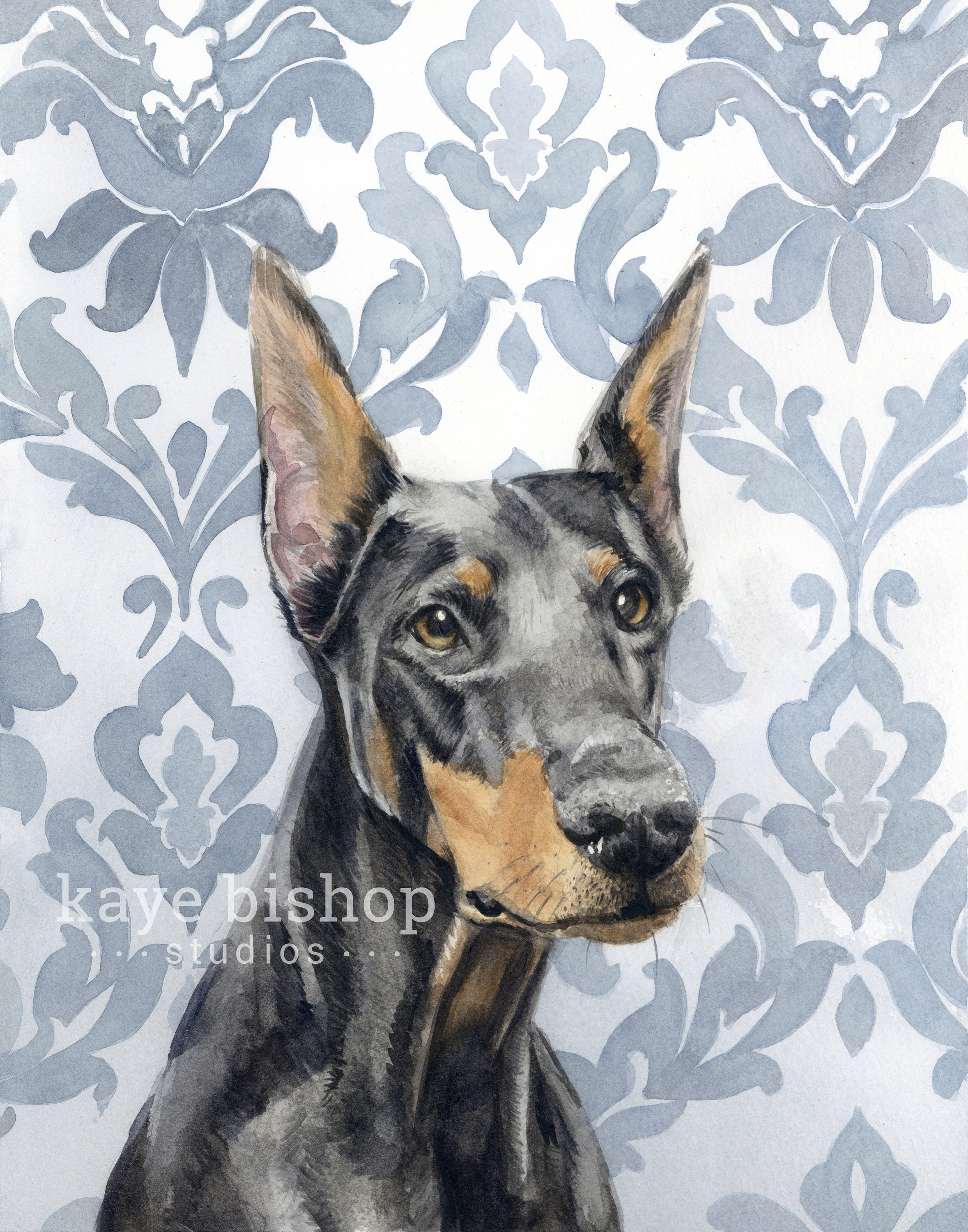 2357x3000 Doberman Watercolor Painting Animal Art Doberman Painting Etsy