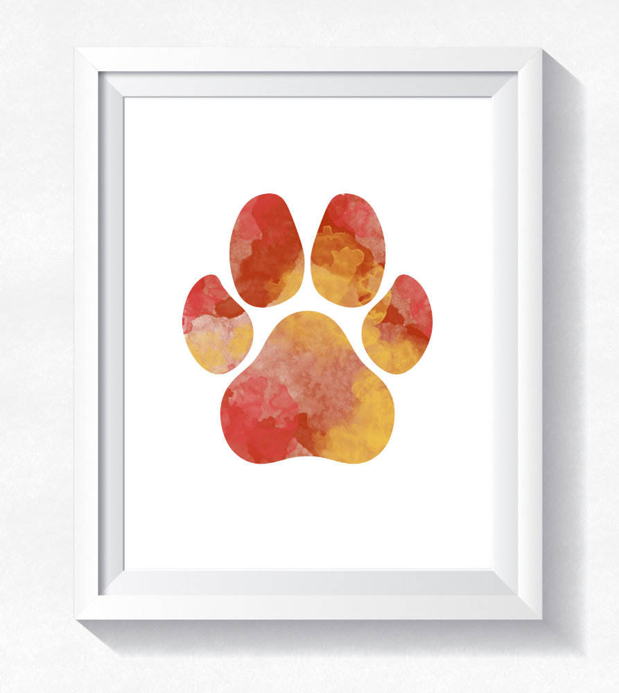 893x1000 Dog Wall Art Dog Room Decor Paw Print Art Watercolor Paw Etsy