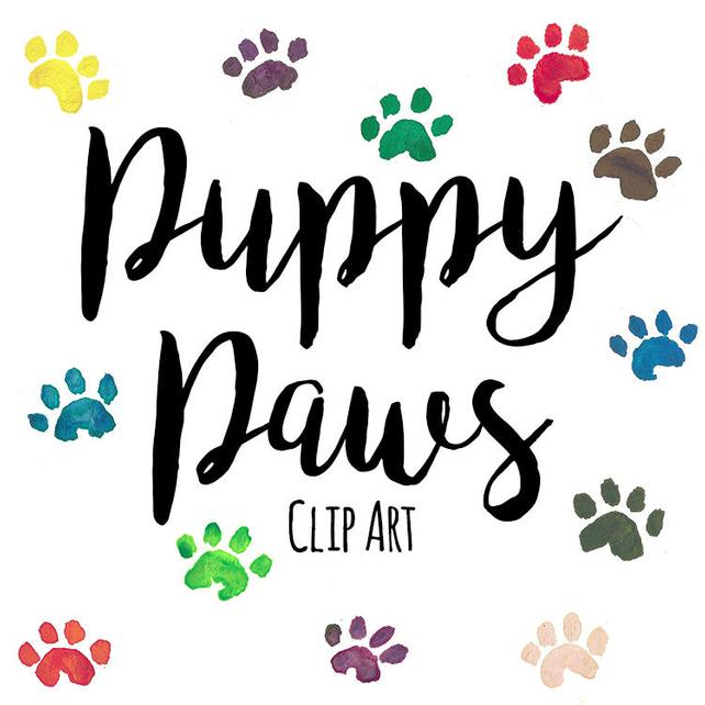 642x642 Hand Painted Puppy Dog Paw Print Clip Art Watercolor Paw Etsy